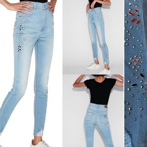 NWT Express skinny high rise embellished jewels studded jeans